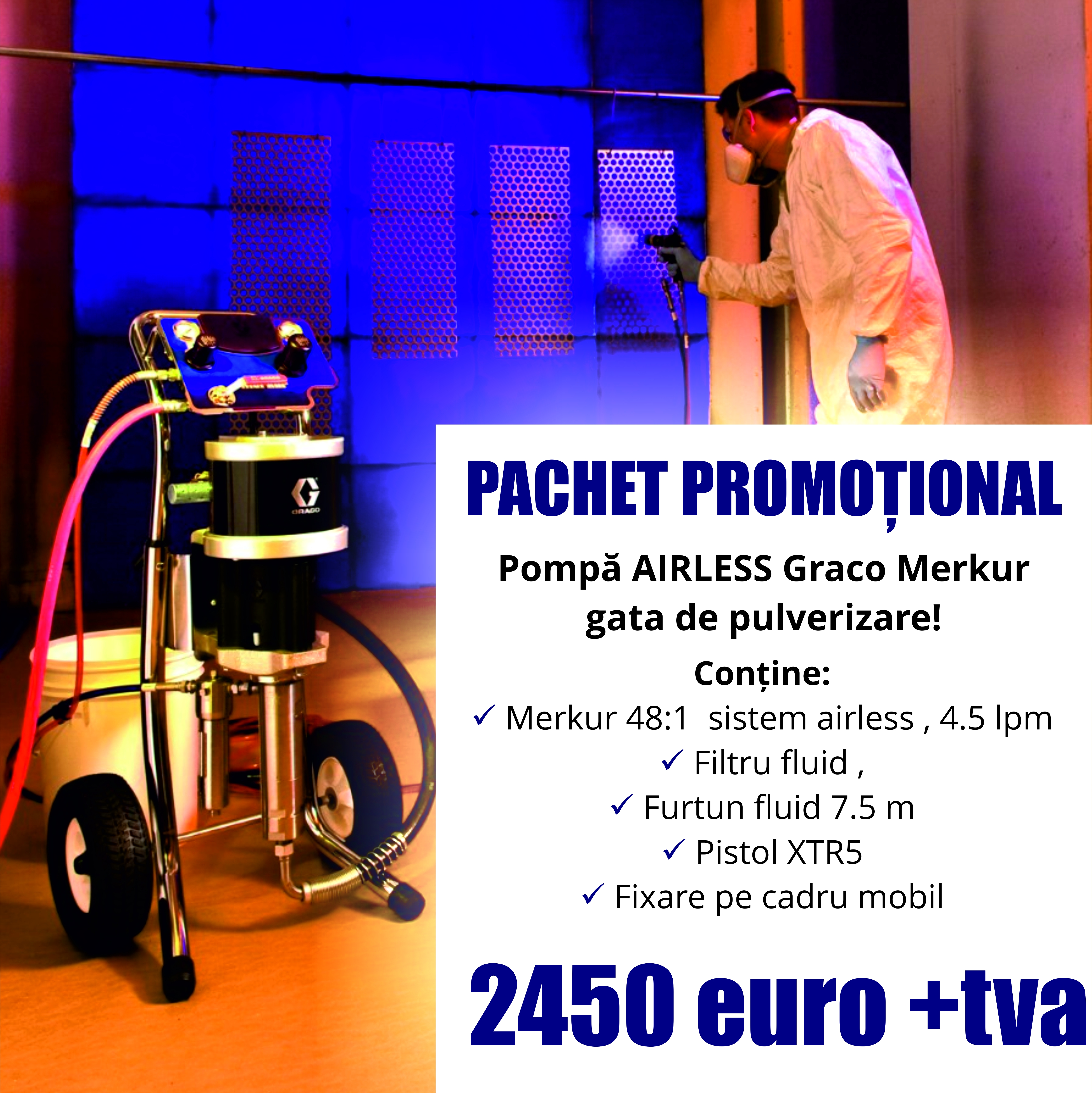 Poză Pompa pneumatica de vopsit airless - air assisted - Graco Merkur