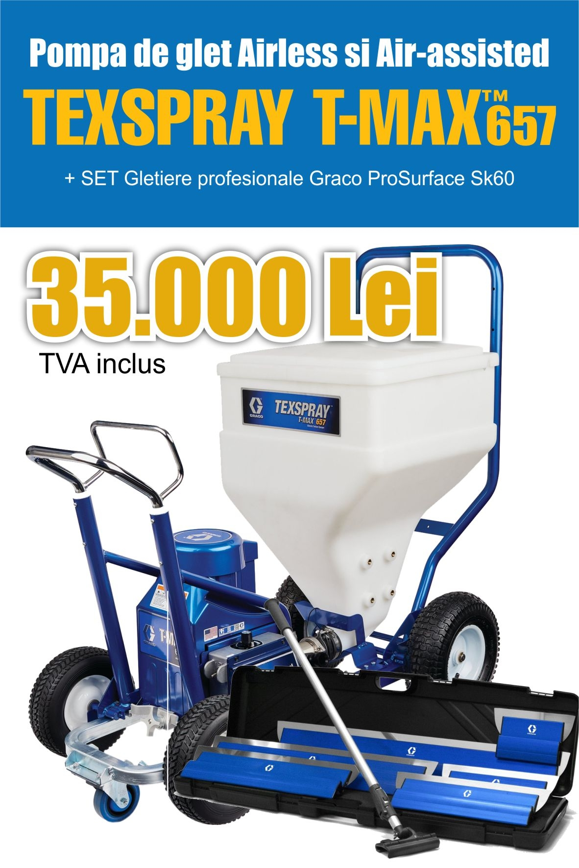 Poză Pompa electrica airless sau air-assisted pentru glet - Graco T-Max